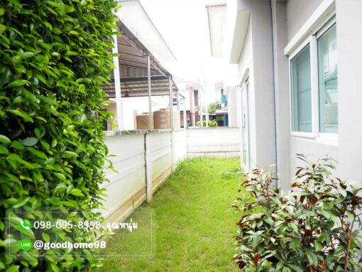 เดอะบาลานซ์ ศาลายา บ้านเดี่ยวมือสอง รอบบ้านปลูกต้นไม้ สนามหญ้า